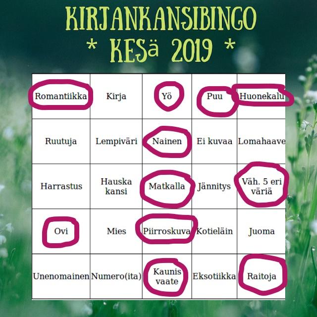 Kirjankansibingo 2019 – rivi1