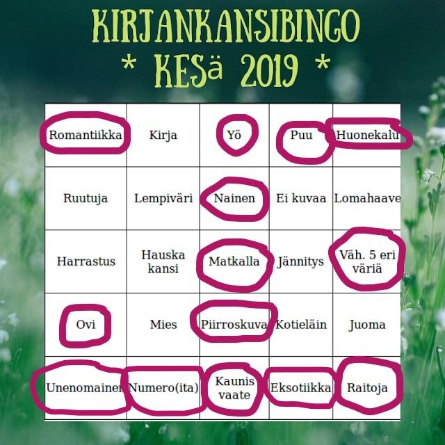 Kirjankansibingo 2019 – rivi2