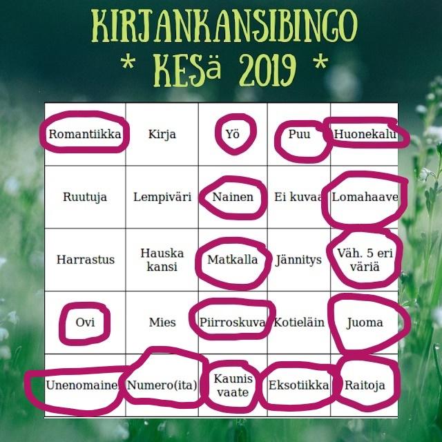 Kirjankansibingo 2019 – rivi3